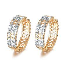 AEIWO 18k 2-tone Gold GP Huggies Simulated Diamond Hoop Fashion Earrings