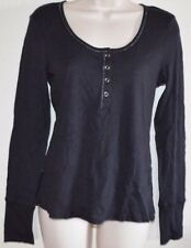New Women's Black TEE Scoop L/S  Button Henley Shirt Top size M