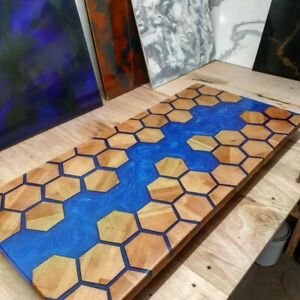 Honeycombs Wooden Walnut Table Dining/Living Decorative Epoxy table Furniture
