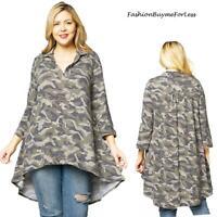 Army Camo Camouflage Jersey High Low Tunic Flare Shirt Top 1X 2X 3X 4X PLUS USA