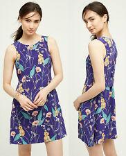 ANTHROPOLOGIE HD In Paris NWT Hidden Isle Dress Purple Floral Silk Sz 10 L $168