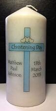 Personalizzato Bambino Battesimo Battesimo Tall Candela Regalo Blue Cross RICORDO