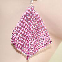 ORECCHINI donna FUCSIA sexy STRASS pendenti CRISTALLI brillantini earrings 1405