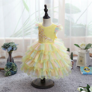 Toddle Baby Girls Kids Pageant Tulle Tutu Dress Wedding Bridesmaid Gown Birthday
