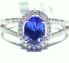 2.19CT 14K Gold Natural Tanzanite Diamond Vintage AAA Wedding Engagement Ring