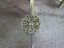 Vintage Daisy Flower Brass Gold Tone Shower Curtain Hooks Lot 11 Retro Boho