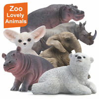 PNSO Pet Animal Hippo Fox Rhinoceros White Bear Elephant Figure Model Decor Toy