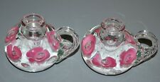 Vintage Joe Rice St Clair Art Glass Paperweight Flower Candlesticks Pair no mark