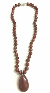 """16"""" Red Onyx Bead Necklace & Pendant with Filagaree Oval Fish Clasp"""