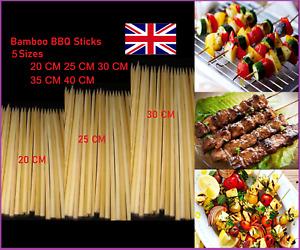 BBQ BAMBOO STICKS Wooden Skewers Kebab Fruit Chocolate Fountain Sticks X3 Sizes