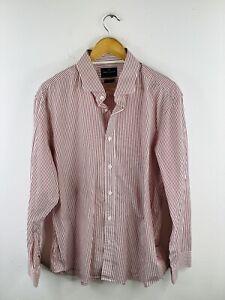 Daniel Hechter Men's Long Sleeve Shirt Size 46 Red Striped Slim Fit Button Up