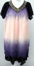 Kleid Lagenlook Farbverlauf Perle Rüsche V Ausschnitt LIla Lachs Neu Gr 46 48 50