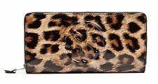 NEW Guess Shine Patent Zip Around Wallet Clutch Bag, Leopard