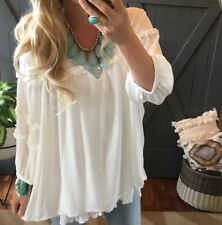 XL NWT Boutique White Ruffle Lace Boho Flowy Tunic Top Blouse Women's X-LARGE