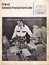 Jones & Lamson Pfm-6T Automatic Precision Turret Lathe Catalog