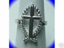 LOOK 1026 Silver ICHTHUS Fish Christian Cross Ring Jewelry