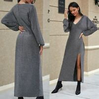 Women's Sexy V-Neck Slim Dress Bodycon Long Sleeve Ball Gown Stretchy Dresses