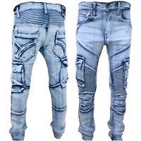 Mens combat jeans, Peviani rock star denim, hip hop cargo g stonewash urban slim