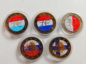 Europa 5 x 2 Euro 2009-2012 Farbgeld Lot 5 Münzen (14