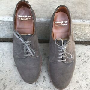 Walk Over Mens Suede Oxford Laced Gray Shoes Size 8.5