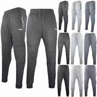 Mens Joggers Sweat Pants Slim Fit Zip Bottoms Skinny Fleece Jogging Gym Trousers