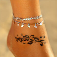 Women Silver Vintage Foot Star Stainless Steel Chain Bracelet Barefoot Anklets
