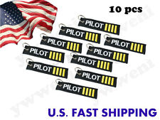 10 pcs PILOT Embroidered Canvas Luggage Tag Label Key Chain/Remove Before Flight