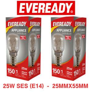 Oven Bulb 300°C Cooker Appliance Lamp Light 25W 240V SES E14 Eveready 2 Pack