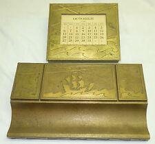 Antique Art Deco Silver Crest Bronze Desk Set Inkwell Calendar w/ Ship & Waves