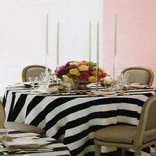 "12 Black & White Striped Satin Table Overlays 60""x60"" Charmeuse Tablecloth"