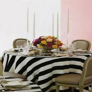 "10 BLACK & WHITE STRIPED SATIN TABLE OVERLAYS 60""x60"" CHARMEUSE TABLECLOTH"
