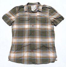 Mens DIESEL Plaid Western Pocket Button Down Slim Short Sleeve Shirt Medium