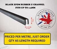 Small Black Rubber U Channel Edging Trim Seal 7mm x 4mm