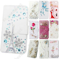 Bling Diamond Leather Case Flip Wallet Card Stand Cover Back Skin For LG Phone