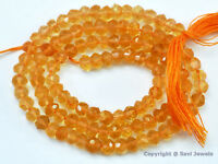 """Micro Faceted Citrine 3.5mm/4.5mm Rondelle Beads 14.5"""" str (Select-a-Size) A++"""