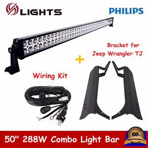 "50"" 288W LED Light Bar Offroad+ Wiring Kit+ Bracket for 97-06 Jeep Wrangler TJ"