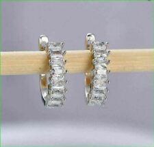 14K White Gold Finish 2.00CT Baguette Cut VVS1/D Diamond Huggie Hoop Earrings