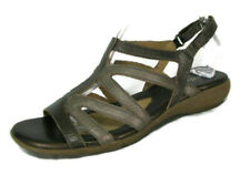 Naturalizer Sandals Shoes Sz 9 Slingback Brown & Taupe Leather Strappy Gladiator
