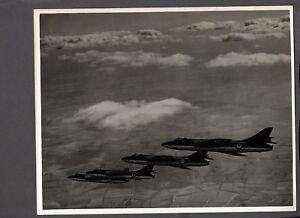 HAWKER HUNTER F2 FORMATION ORIGINAL LARGE STAMPED PRESS PHOTO RAF