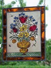 """Bleiverglasung Fensterbild Bernhardt echte Glasmalerei """"Frühlingsstrauß"""""""