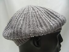 ICING - GRAY - LADIES ONE SIZE - BERET STYLE BEANIE HAT STOCKING CAP!