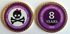 """Alcoholics Anonymous 8 Year Skull and Bow Rope Edge Sobriety Coin Chip 1 3/4"""""""