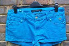 "Criminal Damage Hot Pants Shorts 34"" Turquoise Crâne Stretch Festival Rivets"