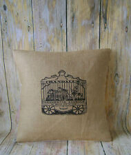 "Vintage Traveling Circus - 16"" Hessian cushion cover Circus French shabby chic"