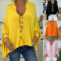 Women Casual Loose Plus Size Solid Long Sleeve V-neck Pullover Blouse Tops Shirt
