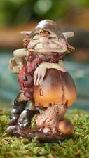 Miniature Fairy Garden Pixie on Brownish Mushroom - Buy 3 Save $5