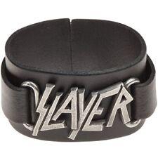 Black Slayer Logo Wristband - Alchemy Leather Bracelet Rocks Wriststrap