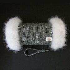 HARRIS TWEED Black Herringbone White Fur Trimmed Hand Muff Warmer Handmade in UK
