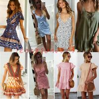 Boho Women Sleeveless Maxi Dress Summer Beach Evening Cocktail Party Sundress