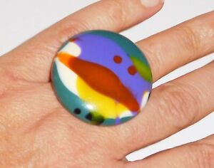 Sobral Kandinsky Odessa Colorful Large Statement Ring Size 7 Brazil Import